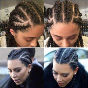 Kim Kardashian dutch braids
